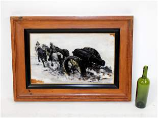 Russel Crofoot (XX) oil on canvas painting of horse