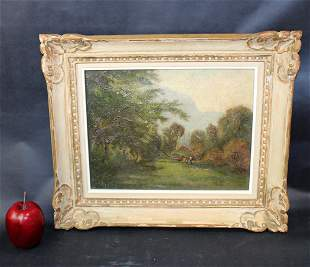 Oil on canvas landscape scene with cottage