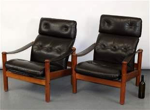 Pair Scandinavian mid century leather armchairs