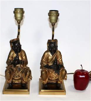 Pair gilt metal figural lamps on brass bases