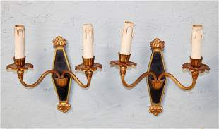 Pair French Empire bronze wall sconces