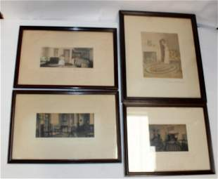 Lot of 4 Wallace Nutting frame prints