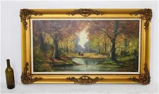 Oil on canvas landscape scene