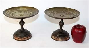 Pair 19th c French bronze tazzos