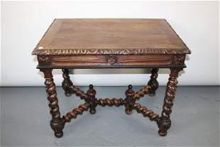 French Louis XIII bureauplat desk with barley twist