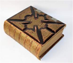 Antique American tooled leather Bible