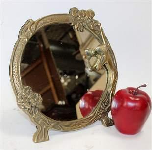 Art Nouveau style bronze vanity mirror