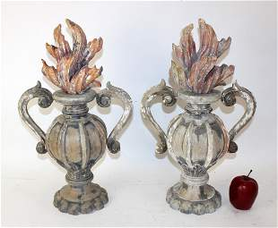 Pair Italian carved polychrome wood urns with flames