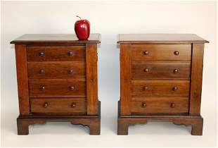 Pair English Wellington salesman sample chests