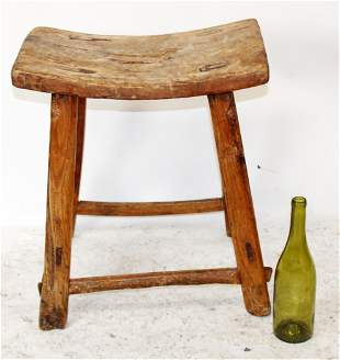 French farmhouse rustic stool in pine