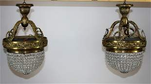 Pair of beaded crystal & bronze flush mount lights