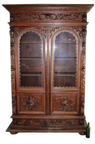 French 2 door carved oak bookcase