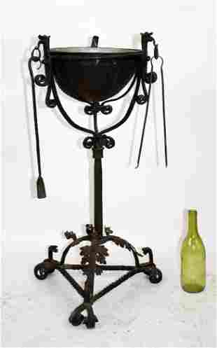 French 19th century wrought iron brazier