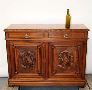 French hunt motif buffet bas with carved game & marble