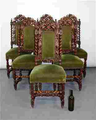 6 French Louis XIII barley twist chairs with grape