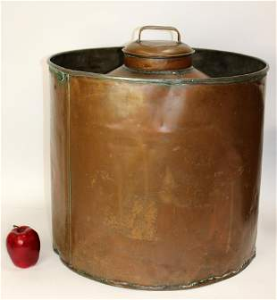 Antique large copper lidded water tank