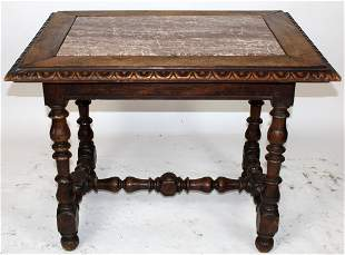 French Louis XIII bureauplat desk with marble insert