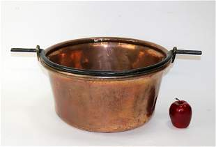 Antique French copper pot with iron handle