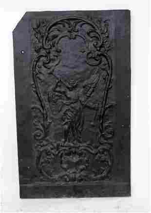 French cast iron figural relief fireback panel