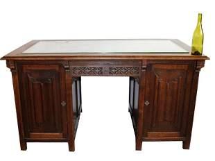 French Gothic Revival pedestal desk in oak