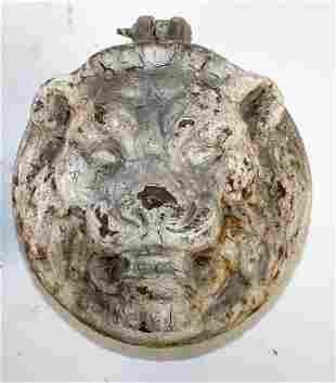 Antique Belgian cast iron lion head plaque
