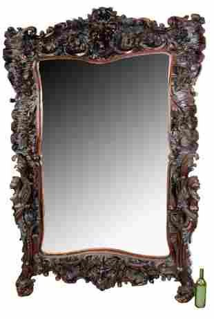 Large scale Italian Renaissance relief carved mirror
