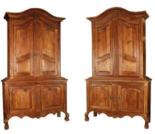 Pair Provincial bench made cherry buffet deux corp