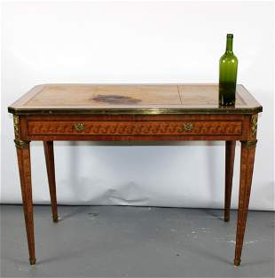 French Hugnet Louis XVI marquetry bureau plat desk