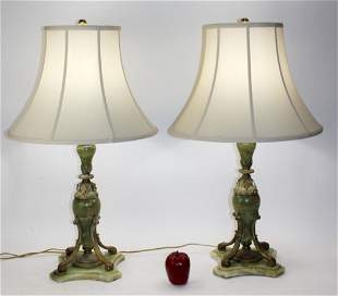 Pair of Louis XVI style onyx and bronze lamps