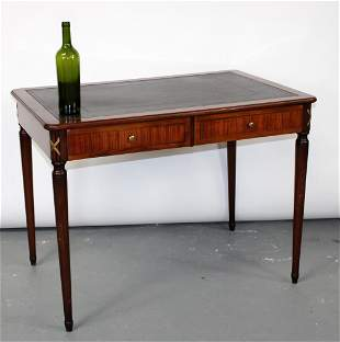 French Directoire bureau plat desk with leather top