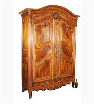 French Provincial dome top armoire with inlaid sun