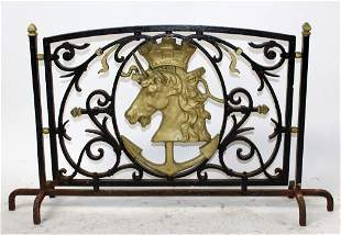 French Iron panel with unicorn with crown