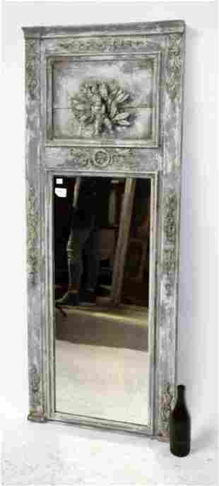 French painted trumeau mirror with cherub