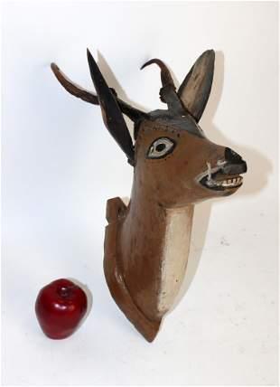 Antique Dutch whimsical carved deer head mount