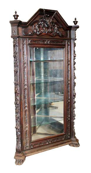 French Louis XIII corner cabinet with deer head