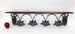 Bronze & iron antelope coat rack with oak leaves