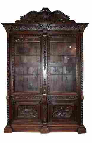 Grand scale French 19th c carved oak bookcase