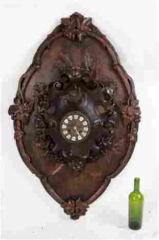Huge French Black Forest cartel clock with fox head
