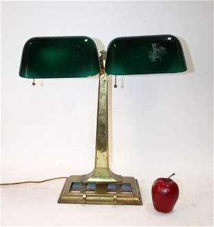 American McFaddin brass double bankers lamp