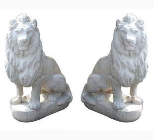 Pair of Belgian cast stone seated lions