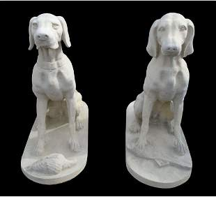 Pair of Belgian cast stone seated entry dogs