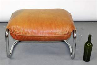 Mid century leather upholstered ottoman