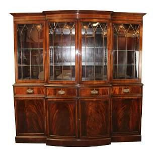 English mahogany 4 door breakfront bookcase