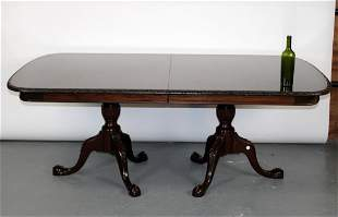Mahogany Chippendale style double pedestal table