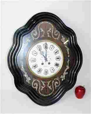 French shaped wall clock with mother of pearl