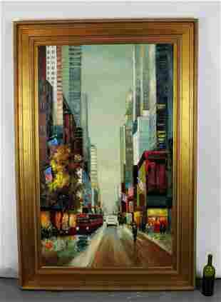 Oil on canvas New York city street scene