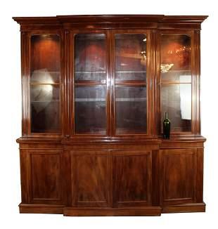 Mahogany 4 door breakfront bookcase