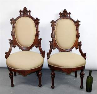 Pair American Eastlake portrait parlor chairs
