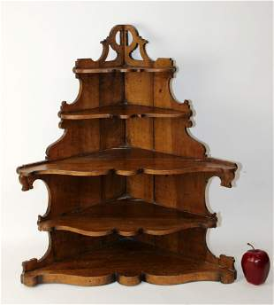 American Victorian wall mount corner shelf