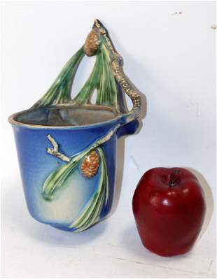 Roseville Pottery pine cone blue bucket wall pocket